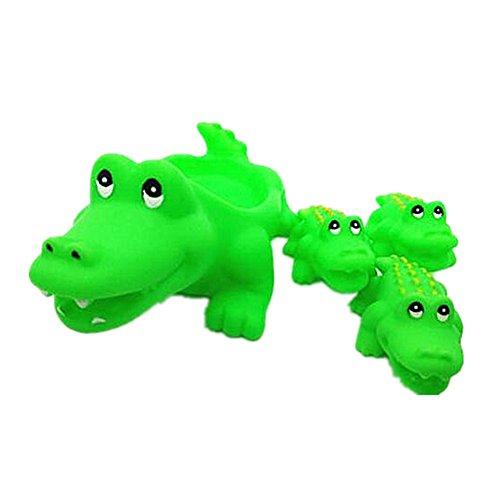 Morbuy Badespielzeug, Eins Große DREI Kleine Baby Bad Spielzeug Schwimmende Quietschen Tier Spielzeug Kinder Bad Spiel Wasser Pool Tub Tiere Sounding Spielzeug (Krokodil)