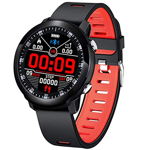 Pulsera de fitness impermeable IP68 con monitor de ritmo cardíaco, monitor de sueño, contador de calorías, contador de calorías, reloj inteligente para hombres y mujeres, color rojo