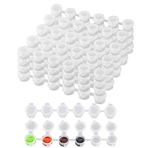 AIEX 150 Macetas Tiras Para Macetas Vacías Mini Contenedores De Almacenamiento Transparentes Pintura Artesanía Suministros Para Aulas Escuelas Pinturas Festivales De Arte, 25 Tiras (3ml)