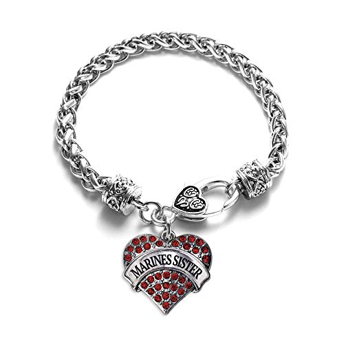 Inspired Silver - Marines Sister Braided Bracelet for Women - Silver Pave Heart Charm Bracelet with Cubic Zirconia Jewelry