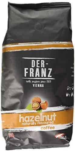 Der Franz, caffè miscela di Arabica e Robusta, torrefatto, fagiolo intero aromatizzato alla nocciola, naturale, UTZ, chicchi interi, 1000 g