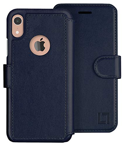 LUPA iPhone XR Wallet case, Durable and Slim, Lightweight with Classic Design & Ultra-Strong Magnetic Closure, Faux Leather, Navy Blue, for Apple XR