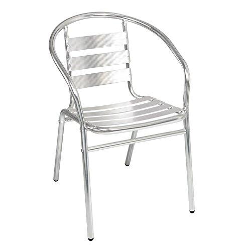 Qualität von Mojawo® Aluminium Campingstuhl Gartenstuhl Stapelstuhl Bistrostuhl stapelbar Balkonmöbel Gartensitzmöbel Silber Küchenstuhl