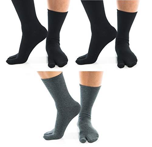 3 Pairs - V-Toe Flip-Flop 2 Black And Gray Solid Big Toe Socks Tabi Style