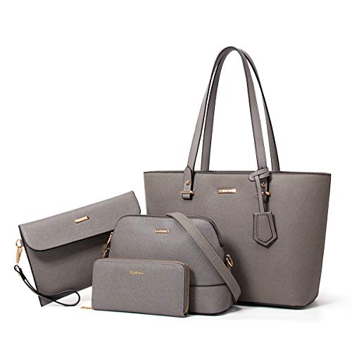 YTL Women Handbags PU Leather Large Shoulder Crossbody Bags 4pcs set for Girls (gray)