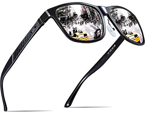 ATTCL Herren Polarisierte Fahren Sonnenbrille Al-Mg Metall Rahme Ultra Leicht 8587 Silver