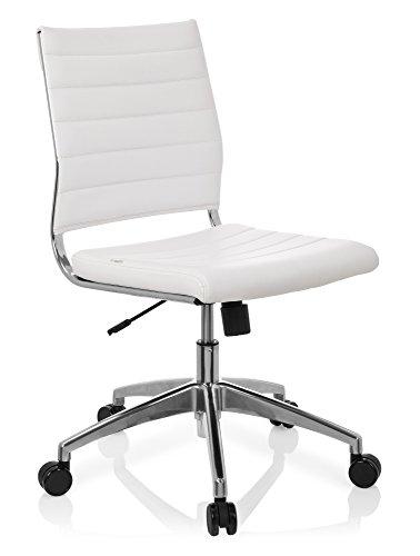 hjh OFFICE 720003 chaise de bureau, chaise bureau à roulettes TRISHA blanc en simili-cuir, siège pivotant sans accoudoirs, structure robuste en métal chromé, réglable en hauteur, design moderne et élégant