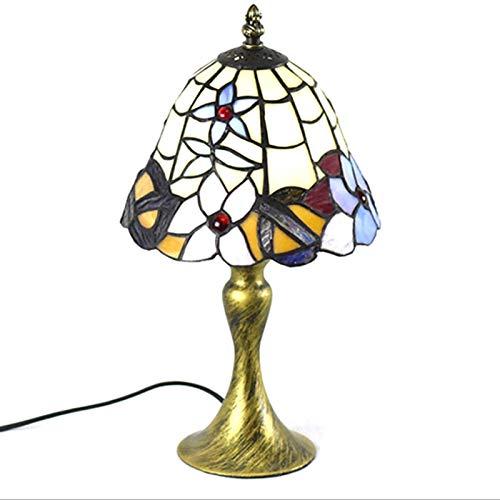 Lámpara de escritorio, de estilo europeo retro simple Stained Glass lámpara de mesa, lámpara decorativa clásica a la cabecera de la sala de estar y estudio