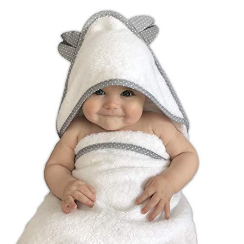 VABY – Babyhandtuch mit Kapuze, OEKO-TEX®, aus Baumwolle und Bambus, weiß/grau, Kinderhandtuch extra groß, Frottee Kapuzenhandtuch mit Ohren, Baby Handtuch für Neugeborene, Junge und Mädchen (Grau)