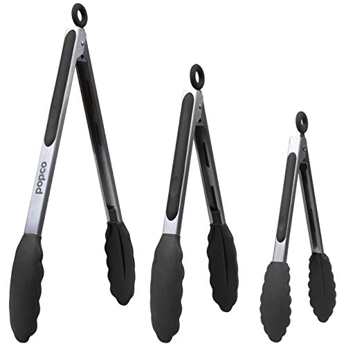 The Original Popco Tongs, Set of 3-7,9,12 inches, Heavy Duty, Stainless Steel Bbq and Kitchen Tongs with Silicone Tips (Can Also Be Used as Ice Tongs and Sugar Tongs) (Black)