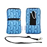 Tainada Phone Neoprene Shockproof Dual Zippered Sleeve Bag Pouch w/Carabiner, Neck Lanyard Strap, Belt Loop for iPhone 11/12 Pro, Samsung S21, S20, Google Pixel 4a, 5 (Geometric Pattern Royal Blue)