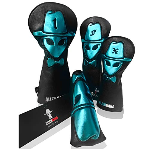 Aliennana Golf Club headcovers Set 3pcs/Set Leather Hand-Made 1 Wood Driver Head Cover Fairway Golf headcvoer Hybird Covers Golf Club Wood Head Cool for Titleist, Epic, Ping G, M6, PXG GEN2