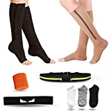 Support Compression Stockings, Open Toe Compression Socks With Zipper Guard For Circulation, 2 Pairs Knee High Support Stockings For Women & Men Athletes Nurses (L-XL)