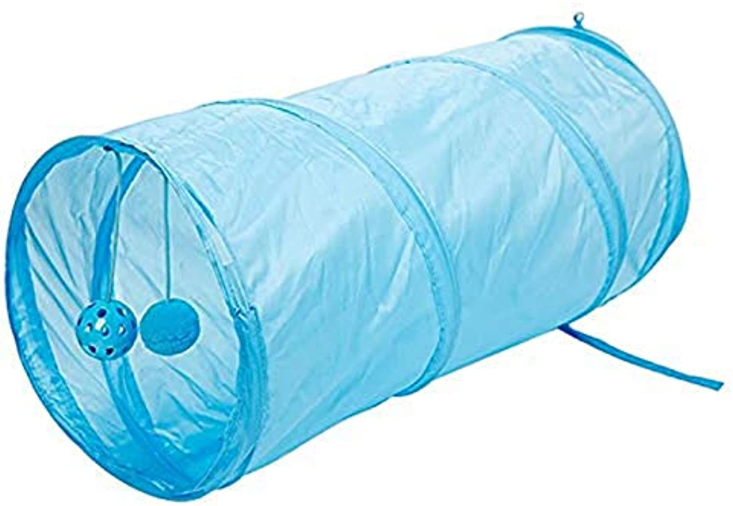 Funny Pet Cat Tunnel, 2 Holes Play Tubes Balls Collapsible Crinkle Kitten Toys Puppy Ferrets Rabbit Play Dog Tunnel Tubes,bluee