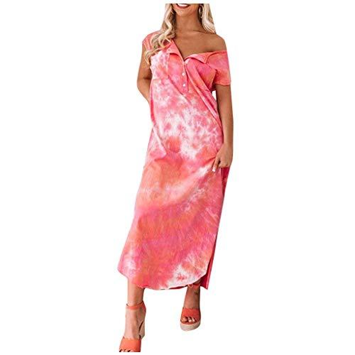 """Shenye Damen Loose Maxi Kleid, Mode Casual Tie-Dye Bedruckte Ã""""rmellose V-Ausschnitt Knopf Saum Seiten Split Langes Hemd Kleid Mit Taschen, Summer Beach Party Kleid"""