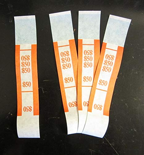 250 SELF Sealing Orange $50 Currency Straps Money Bill Bands $50 PMC
