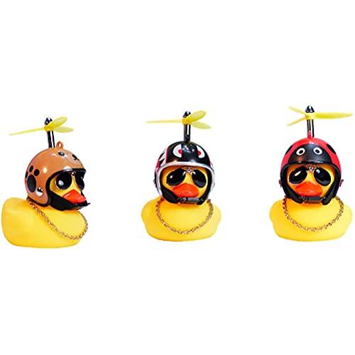 Decoraciones de goma de la bici del pato, campana de la bici del pato, adorno del pato de la motocicleta, adorno de casco de pato amarillo pequeño, juguete de baño para niños y adultos
