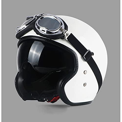 SHUTING2020 Casco de Motocicleta de la Mitad Abierta Casco de Hebilla de Lanzamiento rápido Casco Adulto Casco Unisex Casco (Color : White)