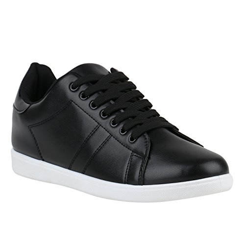 Damen Sneakers Sneaker Low Cap Sport Leder-Optik Freizeit Schnürer s Samt Trainers Allyear Schuhe 142258 Weiss Weiss Schwarz 42 Flandell