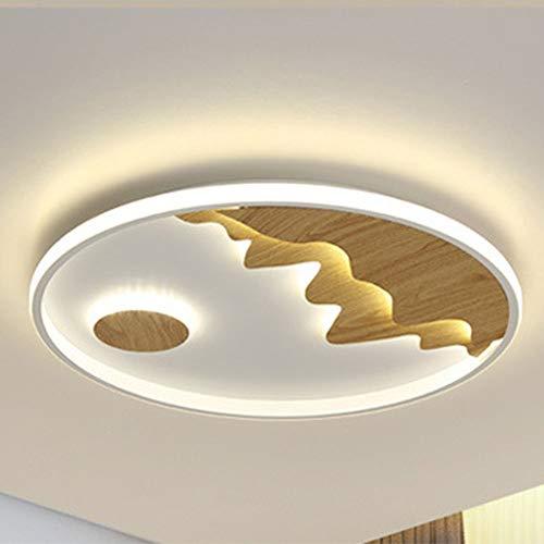 Asncnxdore Moderna Iluminación De Techo LED Simple Con Personalidad Creativa Redondeada Techo De Madera Nordic (diámetro 40cm * 3.5cm De Espesor)