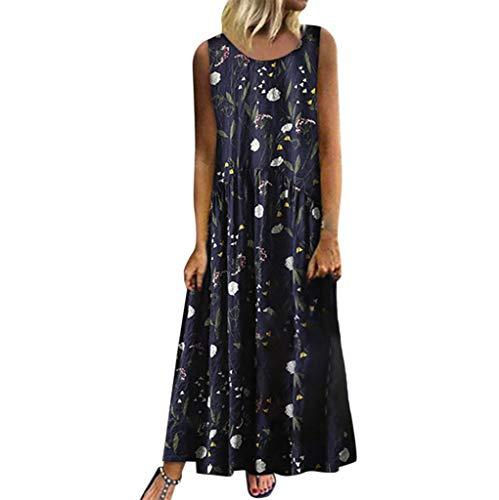 Sommerkleider Große Größen Ärmellos Träger Kleider Blumen Druckkleider Mode für Mollige Maxikleider Vintage Retro Kleider Boho Stil Strandkleider Plissee Kleid (Navy, 50)
