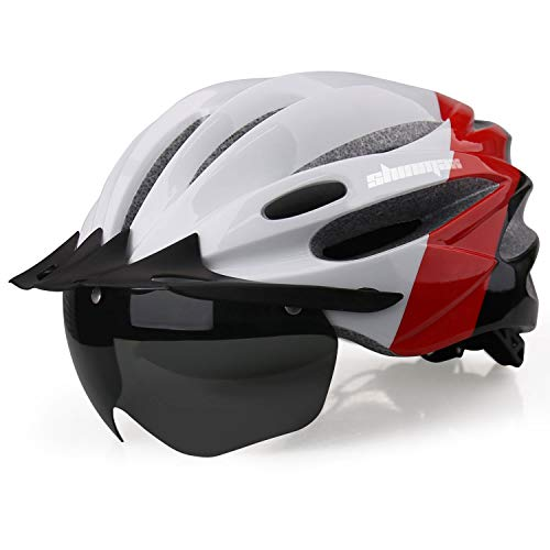 Shinmax Bike Helmet, Bicycle Helmet CPSC&CE Certified with USB Charging Light&Detachable Magnetic Goggles&Removable Sun Visor&Portable Bag Adjustable Cycling Helmet for Adult Men Women Mountain Road