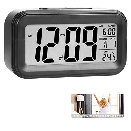 Reloj de Alarma Digital, LCD Pantalla Reloj Alarma Inteligente y con Pantalla de Fecha y Temperatura Función Despertador con Sensor de luz y función Snooze Funciones, para Niños Adultos (negro)