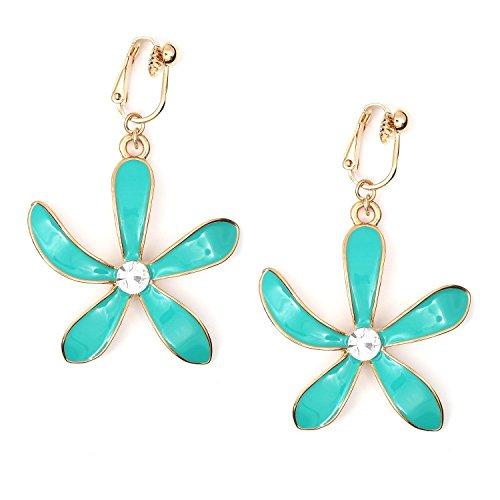 Idin Jewellery - Flor de esmalte turquesa con pendientes de clip en tono dorado de cristal