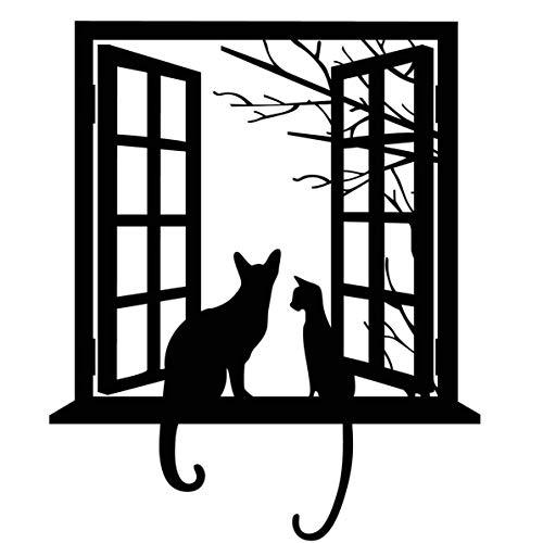 Monllack Calcomanía de Pared, Dibujos Animados creativos Gatos Pegatinas de Pared Autoadhesivo Vinilo habitación Ventana Pared calcomanías Arte decoración Interior Impermeable (Negro)