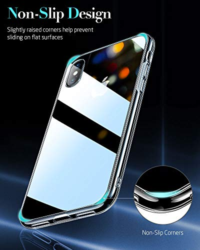 ESR Mimic Tempered Glass Case for iPhone Xs/iPhone X,9H Glass Back Cover [Mimics The Glass Back of iPhone] + Soft Silicone Bumper [Shock Absorption] for iPhone 5.8 inch(2018 & 2017)(Clear)