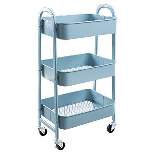 AGTEK Makeup Cart, Movable Rolling Organizer Cart, Grey-Blue 3 Tier Metal Utility Cart