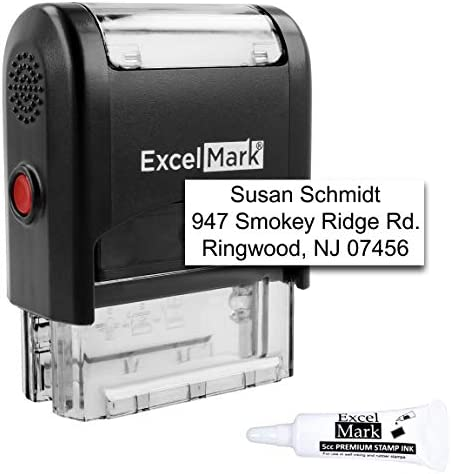 Custom Self Inking Rubber Stamp Up to 3 Lines with Refill Ink A1539 product image