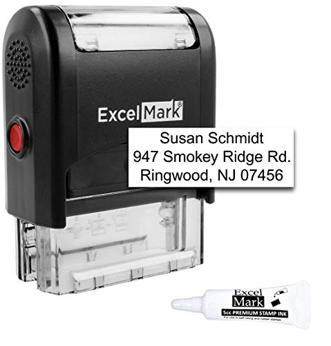 Custom Self Inking Rubber Stamp - Up to 3 Lines - with Refill Ink (A1539)