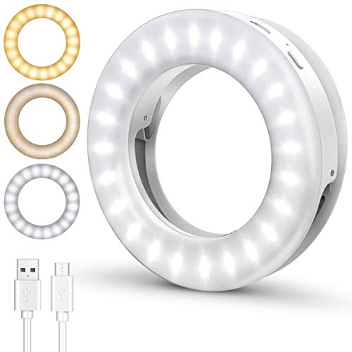 【2020 Upgraded】Selfie Ring Light, ELEGIANT Rechargeable Portable...