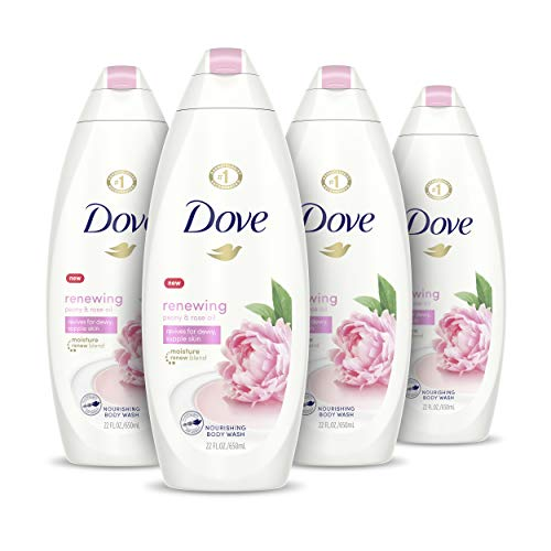 Dove Body Wash 100% Gentle Cleansers, Sulfate Free Peony and Rose Oil Effectively Washes Away Bacteria While Nourishing Your Skin 22 oz, 4 Count
