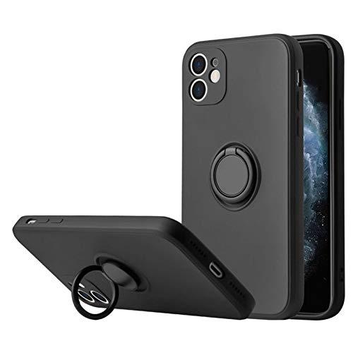 Funda Compatible con Apple iPhone 12 Teléfono Móvil Silicona Liquida Bumper Case y Flexible Ultra Slim Anti-Rasguño Protectora Caso con 360 Grados Rotaria Ring Holder (6, 12)