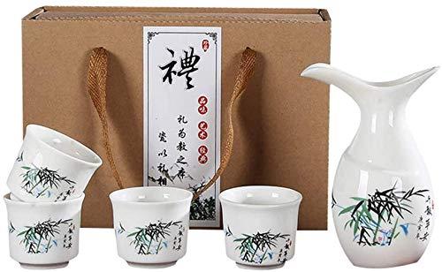 SAFGH Juego de copas de Vino, juego de Sake, juego de copas de Sake japonés, 5 piezas de cerámica de porcelana pintada a Mano, artesanías de cerámica tradicionales, tazas de Vino, ollas de Sake, i