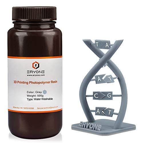 ERYONE Resina per Stampante Fotopolimerica 3D a Polimerizzazione UV Lavabile con Acqua per Stampante DLP/LCD, Grigio