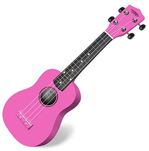 Classic Cantabile US-100 PK Sopranukulele (Ukulele, Uke, 15 Bünde, leichtgängige Gitarrenmechanik) pink