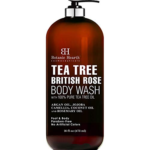 BOTANIC HEARTH Tea Tree Body Wash with British Rose Extract, Helps with Nails, Athletes Foot, Ringworms, Jock Itch, Acne, Eczema & Body Odor, Soothes Itching & Promotes Healthy Skin and Feet, 16 fl oz