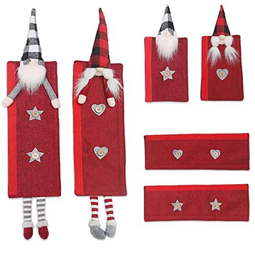 Weihnachts-Küchendekoration, niedliche 3 Paar Kühlschrankgriff-Dekor, Staub-Türgriff-Abdeckung