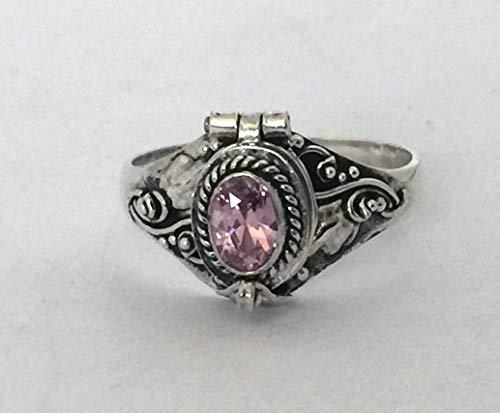 Poison Ring Bali Sterling Silver Locket Ring Purple Amethyst February Birthstone AR04