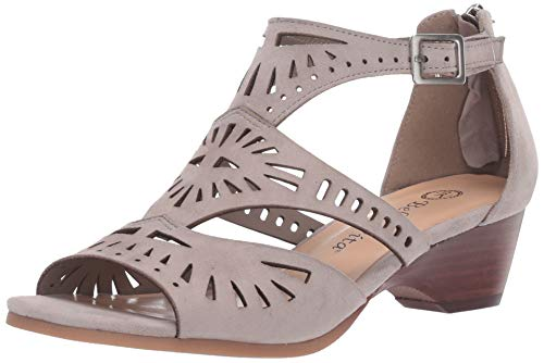 Bella Vita Women's Penny Cutout Sandal with Back Zipper Shoe, Stone Kidsuede Leather, 6.5 W US