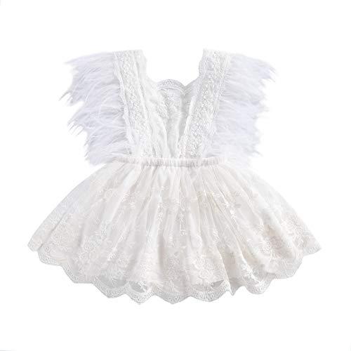 Carolilly Pelele de princesa para bebé, niña, de encaje, sin espalda, sin mangas, con borlas, plumas, color blanco Blanco 0-6 Meses
