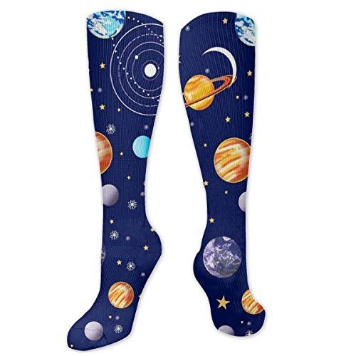 antcreptson Navy Planets Solar System Graduated Compression Socks for Men & Women Best Stockings for Nurses, Travel, Running, Maternity Pregnancy