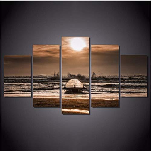 Lllyzz 5 panelen van Riva Al Mare Al Tramonto poster Hd bedrukt op canvas kunstdruk Marino Boot Decoratie Wall Art Pictures-200 x 100 cm