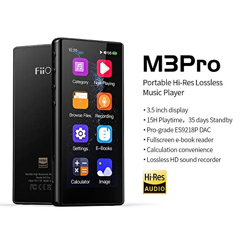 """FiiO M3 Pro MP3 Player, High Resolution and 3.5"""" Full Touchscreen HiFi Lossless Sound Player with Voice Recorder, E-Book,Supports up to 2TB,Black"""