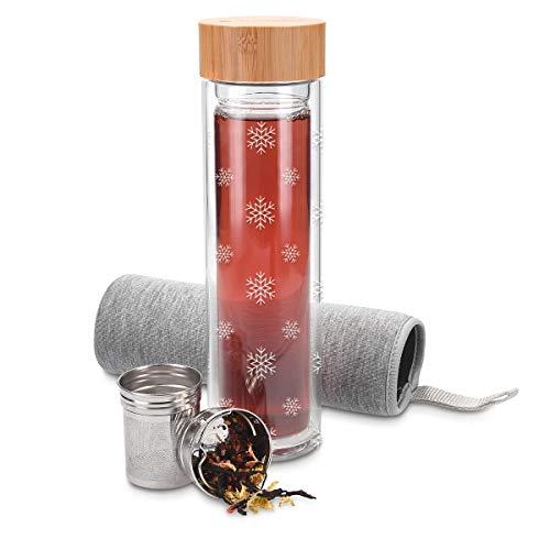 Navaris Teeflasche aus Glas mit Sieb - 500ml Tee Flasche Teekanne to go - Trinkflasche Schneeflocken Design - doppelwandig aus Borosilikatglas