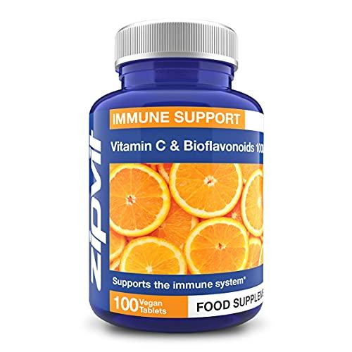 Vitamina C 1000 mg + Bioflavonoides, 100 Comprimidos. Apto para veganos