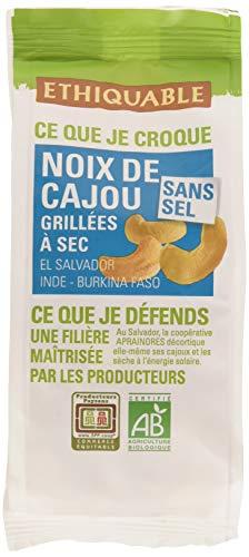Ethiquable Noix de Cajou Salvador Grillées à Sec Sans Sel Salvador/Inde Bio et Équitable 100 g Max Havelaar